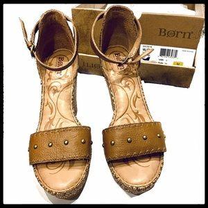 Born Valari Tan Platform Wedge Sandals